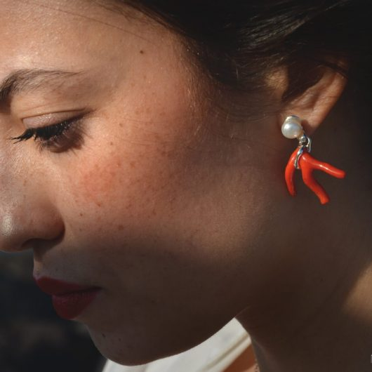 orecchini artigianali corallo perla